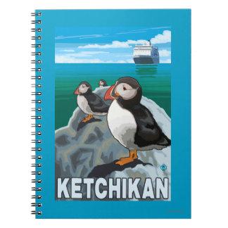 Frailecillos y barco de cruceros - Ketchikan, Libro De Apuntes Con Espiral