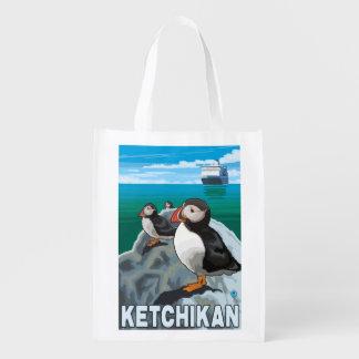 Frailecillos y barco de cruceros - Ketchikan, Bolsas De La Compra
