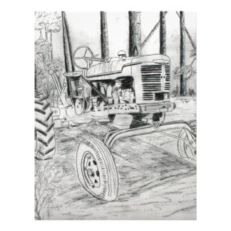 fram tractor black and white drawing letterhead