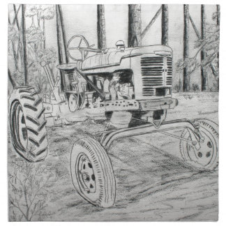 fram tractor black and white drawing napkin