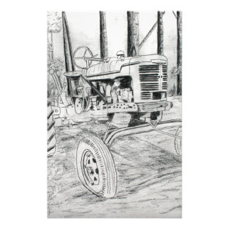fram tractor black and white drawing stationery