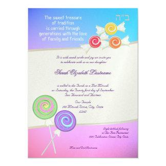 """Frambuesa dulce del azul de Mitzvah del palo del Invitación 5.5"""" X 7.5"""""""