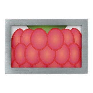 Frambuesa regordeta roja con las hojas hebilla cinturon rectangular
