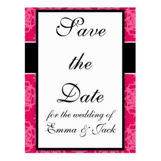 Frambuesa y diseño rosado del damasco postal