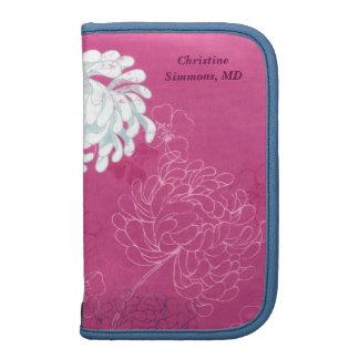 Frambuesa y Smartphone en folio floral azul Planificador