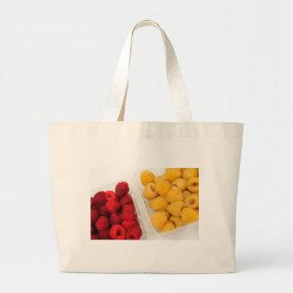 Frambuesas rojas y de oro bolsa tela grande