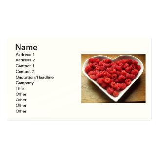 frambuesas sanas frescas de la fruta roja de las tarjetas de visita