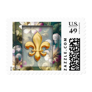 Frame Damask Gold Fleur de Lis French Brocade Postage