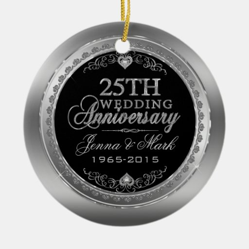 Frame Hearts 25th Wedding Anniversary Double Sided Ceramic Round Christ