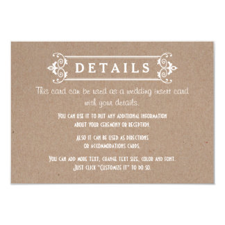 Frame kraft cardboard paper wedding details insert card