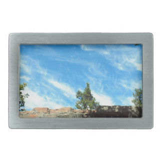 Frame of a blue sky with clouds rectangular belt buckle