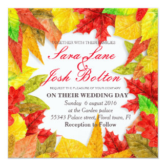 Frame of colorful autumn leaves card