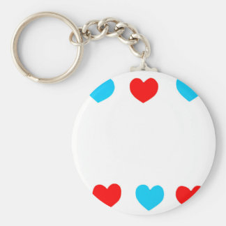 Frame of red and blue paper hearts with copy space keychain