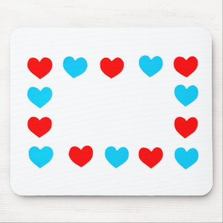 Frame of red and blue paper hearts with copy space mouse pad