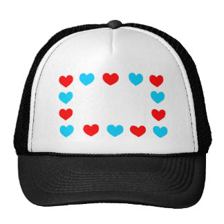 Frame of red and blue paper hearts with copy space trucker hat