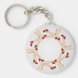 Frame or design element with legs of women basic round button keychain