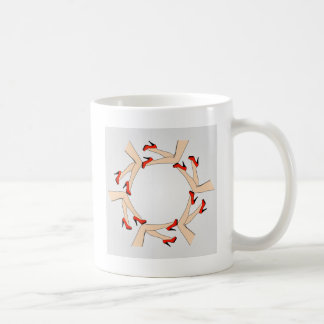 Frame or design element with legs of women coffee mug