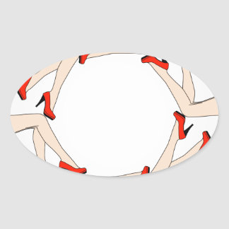 Frame or design element with legs of women oval sticker