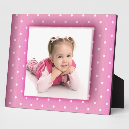 Frame Pink White Polka Dots Add Your Photo Plaques
