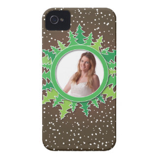 Frame with Christmas Trees on brown bg Case-Mate iPhone 4 Case