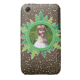 Frame with Christmas Trees on brown bg Case-Mate iPhone 3 Cases