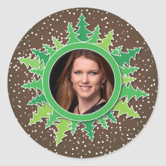 Frame with Christmas Trees on brown bg Classic Round Sticker