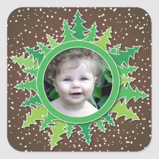 Frame with Christmas Trees on brown bg Square Sticker