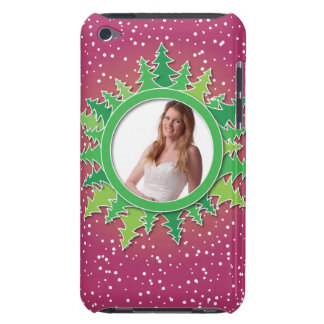 Frame with Christmas Trees on pink bg Barely There iPod Case
