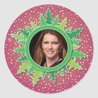 Frame with Christmas Trees on pink bg Classic Round Sticker