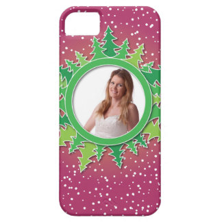 Frame with Christmas Trees on pink bg iPhone 5 Cases