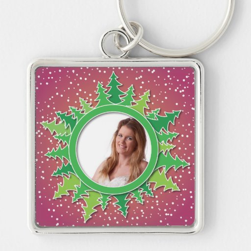 Frame with Christmas Trees on pink bg Silver-Colored Square Keychain