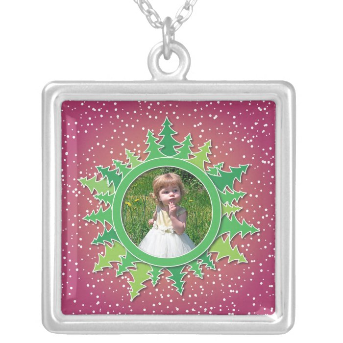 Frame with Christmas Trees on pink bg Silver Plated Necklace