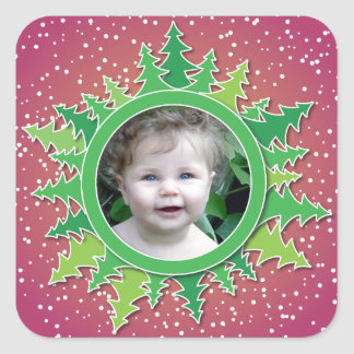 Frame with Christmas Trees on pink bg Square Sticker