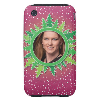Frame with Christmas Trees on pink bg Tough iPhone 3 Covers