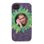Frame with Christmas Trees on purple bg iPhone 4/4S Cases
