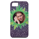 Frame with Christmas Trees on purple bg iPhone 5 Cases