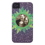 Frame with Christmas Trees on purple bg iPhone 4 Case-Mate Case