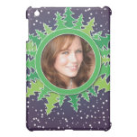 Frame with Christmas Trees on purple bg iPad Mini Covers