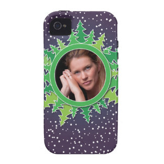 Frame with Christmas Trees on purple bg iPhone 4 Cover