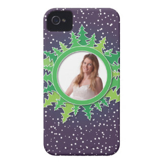 Frame with Christmas Trees on purple bg iPhone 4 Covers
