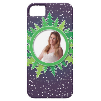 Frame with Christmas Trees on purple bg iPhone 5 Cover