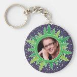Frame with Christmas Trees on purple bg Keychains