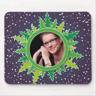 Frame with Christmas Trees on purple bg Mousepads