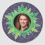 Frame with Christmas Trees on purple bg Sticker