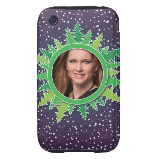 Frame with Christmas Trees on purple bg Tough iPhone 3 Case