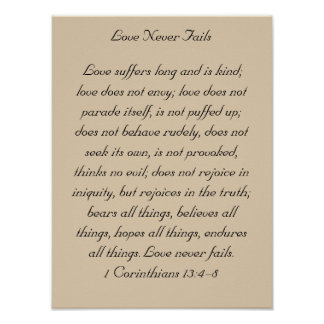 Framed Bible Verse Artwork, 1 Corinthians 13, Love Poster