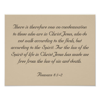 Framed Bible Verse Artwork, Romans 8:1-2 Poster