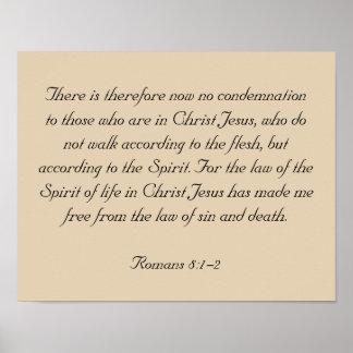 Framed Bible Verse Artwork, Romans 8:1-2 Poster