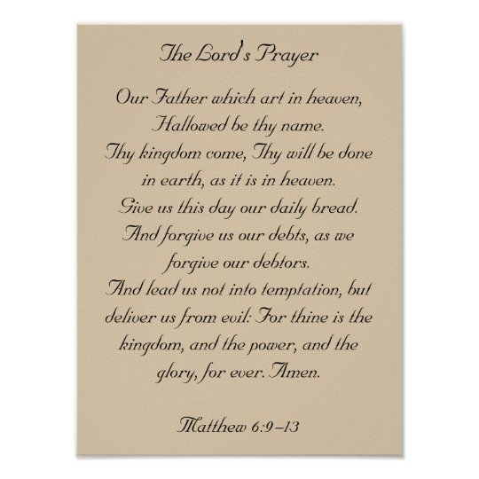 Framed Bible Verse Artwork, the Lord's Prayer Poster