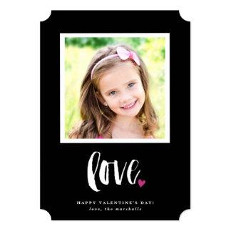 "Framed brushy love valentine's day photo card 5"" x 7"" invitation card"